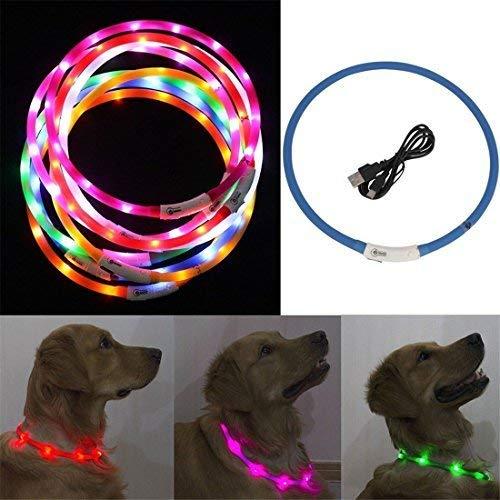 WUKONG99Hohe Qualität Hunde Leuchthalsband LED Hundehalsband Leuchtband 70cm, Aufladen per USB,Verstellbar für Hunde und Katze