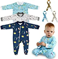 100% Cotton: soft and comfortable for your baby girls and boys Neck To Foot Zipper: baby pyjamas zipper closure from neckline to ankle, convenience for changing diapers Anti-Slip Rubber: the bottom of the foot has a rubber pad, with anti-slip rubber ...