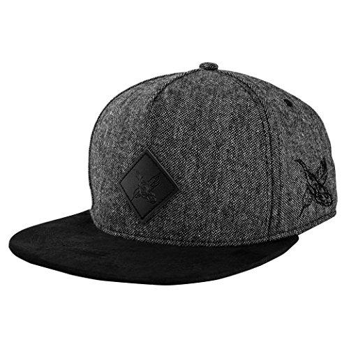 Blackskies Bliss Vol. II Snapback Cap Casquette de Baseball Trucker Hat Tweed Chapeau Unisexe - Noir Blanc Suède
