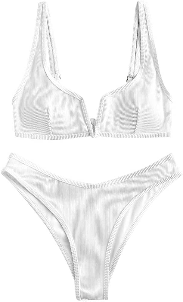 ZAFUL Two Pieces Ribbed Padded V-Wired High Cut Swimsuit for Women Cami Bathing Suit