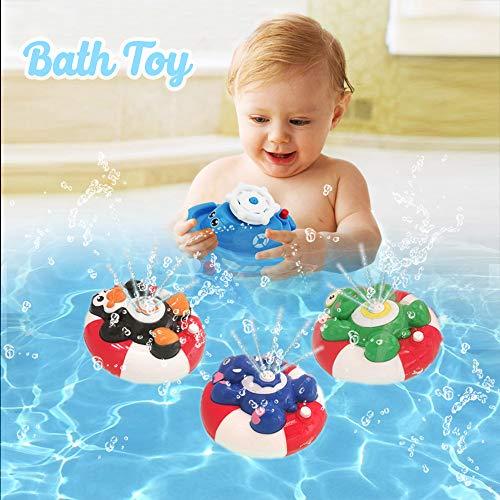 WISHTIME Spray Wasser Baby Badespielzeug Wasserpumpe Elektronische Spray Spielzeug Float Drehen Mit Brunnen Schwimmende Badewanne Dusche Bad Spielzeug Für Baby Kleinkind Infant Kid Party (Pinguin)