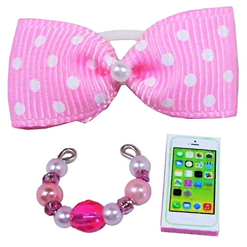 Littlest Pet Shop Accessories LPS Bow Collar Phone Random Gift Bag Lots Craft Sets; Pets NOT Included (Pink)
