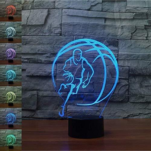 Creativo 3D Baloncesto Luz de Noche 7 Colores que Cambian USB Poder Touch Switch Ilusión óptica Decor Lámpara LED Mesa Lámpara Niños Juguetes Cumpleaños Navidad Regalo