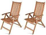 SAM 2er Set Hochlehner France, Akazienholz massiv, 5-Fach Verstellbarer Gartenstuhl, Klappstuhl für Balkon, Terrasse oder Garten