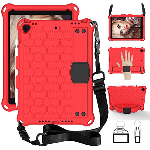 SsHhUu iPad 7th Gen 10.2' 2019 / iPad Air 3 10.5' / iPad Pro 10.5' Case for Kids, Shockproof Light Weight Kids Friendly Cover with Pencil Holder, Shoulder Strap for iPad 10.2 Inch - Red/Black