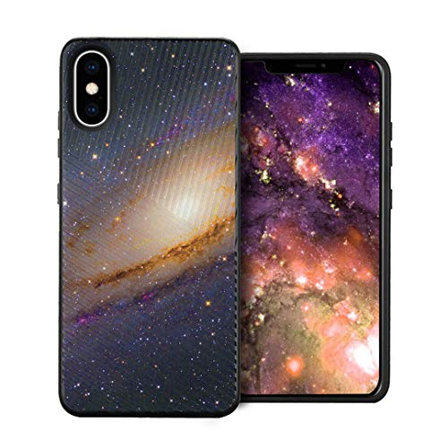 Capsule Case Compatible with iPhone Xs [Embossed Diagonal Lines Hybrid Dual Layer Slim Armor Black Case] for iPhone Xs- (Space Milkyway)