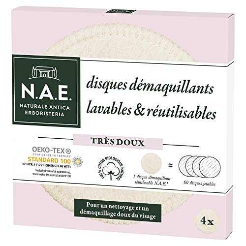 N.A.E. - Disques démaquillants Lavables Visage - Cotons réutilisables - Oeko-tex - Coton biologique - 4 Disques