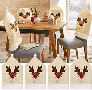 Fundas para sillas de Navidad, 4 Piezas Fundas para sillas de Reno de Ciervo Cena Silla Conjuntos de Gorro de Navidad Decoración navideña Fundas para sillas de Navidad para decoración navideña