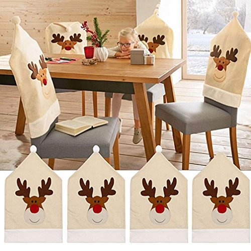 Fundas para sillas de Navidad, 4 Piezas Fundas para sillas de Reno de Ciervo Cena Silla Conjuntos de Gorro de Navidad Decoración navideña Fundas para sillas de Navidad para decoración navideña ⭐