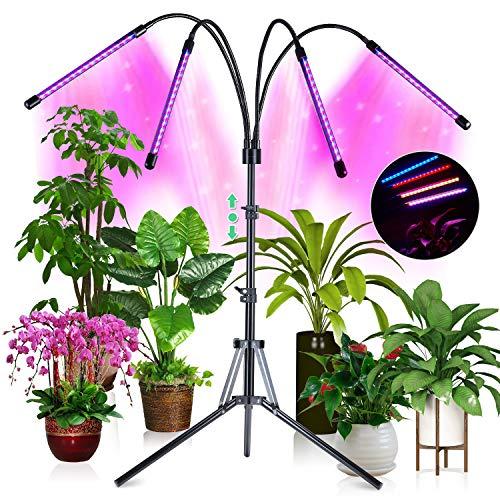 CrazCalf 180 LED 144W Lampada per Piante, 35 modalità di Illuminazione Lampada Piante Coltivazione Grow Light Spettro Completo Crescente con Timer Automatico 3H/6H/12H e Treppiede Regolabile 32-160cm