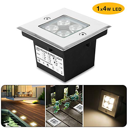 Wilktop 4W Led Bodeneinbaustrahler, Quadrat Außenleuchte IP67 LED Boden Einbau-Strahler Gartenleuchten Lamp Für Aussen (Warmweiß)