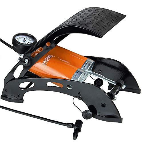 Deuba Fußpumpe Doppelzylinder inkl. Zusatzadapter 7 bar Fahrrad Luftmatratze Auto Motorrad Luftpumpe mit 80 cm Schlauch