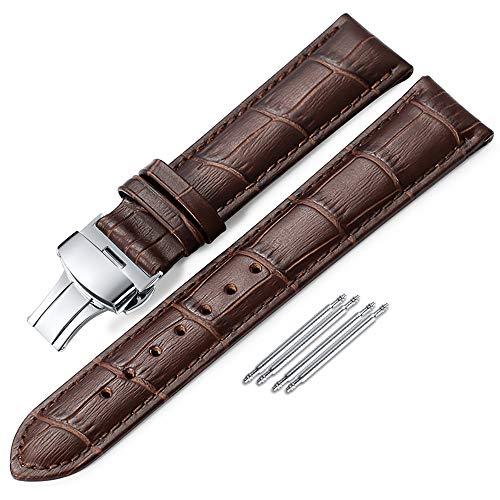 時計 ベルト 19mm - 本革腕時計 ベルト - ワニ革模様 時計ベルト - プッシュボタン式Dクラスプ- 時計 バンド-ブラウン