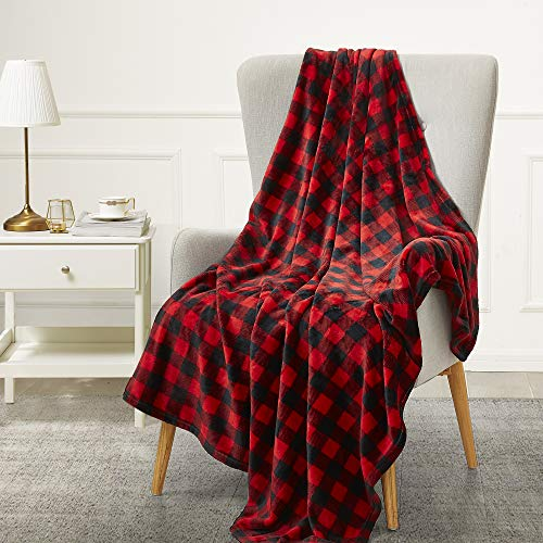 BEDELITE Fleece Blankets Red and Black Buffalo Plaid Throw Blankets for Couch & Bed, Plush Microfiber Fuzzy Checkered Blanket, Super Soft & Warm Lightweight Throw Blankets for Spring and Summer