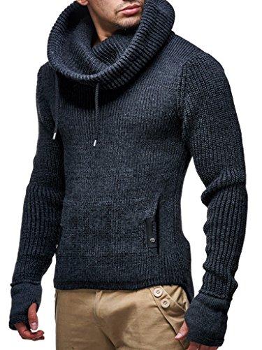 Leif Nelson Herren Strick-Pullover Strick-Pulli mit Schalkragen Moderner Woll-Pullover Langarm-Sweatshirt Slim Fit LN5060 Anthrazit Large