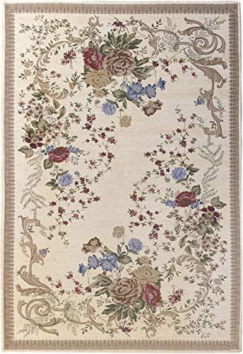 HAMID - Alfombra Florencia Diseño Clásico Floral - Alfombra Acrilica con Base Antideslizante (D1, 90x60 cm)
