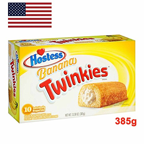 Hostess Banana Twinkies Golden Sponge Cake with Creamy Banana Flavour Filling 10x 38,5g (385g) - Einzeln verpackt