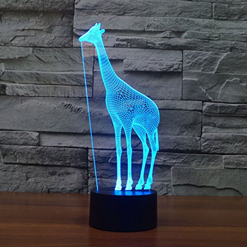 Animal 3D Illusion Lamp Led Night Light with 7 Colors Flashing & Touch Switch USB Powered Bedroom Desk Lamp for Kids Gifts Home Decoration (Giraffe)