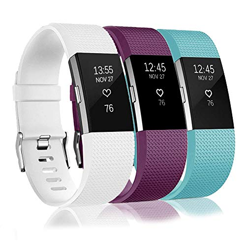 Bands Replacement Compatible for Fitbit Charge 2, Adjustable Wrist Accessories Sport Wristbands for Women&Men (Deep Purple-Light Blue-White-D, Small)