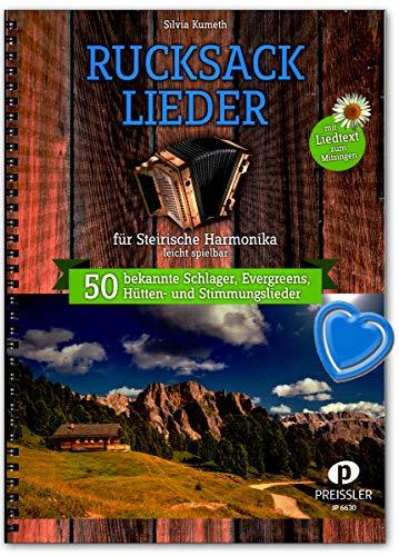 Rucksacklieder für Steirische Harmonika - 50 bekannte Schlager, Evergreens, Hütten- und Stimmungslieder - 9783940013255