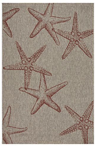 Lr Home Red Starfish Constellation Small Accent Rug, Beige, 1'10' x 3' (CAPTI81020CBG1A30)
