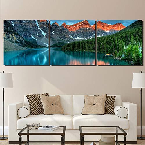 Preisvergleich Produktbild jjshily Leinwand Poster Wandkunst Hd Drucke Bilder 3 Stücke Moraine Lake Landschaft Wald Berg Gemälde Wohnzimmer Wohnkultur,  40X60