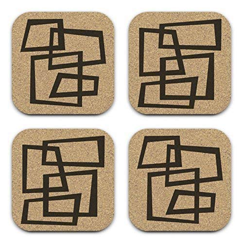 MCM Geometric Abstract Art Coaster Gift Set of 4