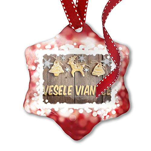 NEONBLOND Christmas Ornament Merry Christmas in Slovak from Slovakia, Czech Republic, red