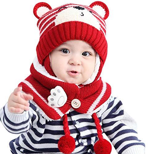 Mbby Cappello + Sciarpa A Set Neonato Inverno, 6-24 Mesi Berretto A Maglia Bambino con Paraorecchie Autunno in Cotton Addensare Antivento Caldo Morbido per Ragazzo E Ragazza