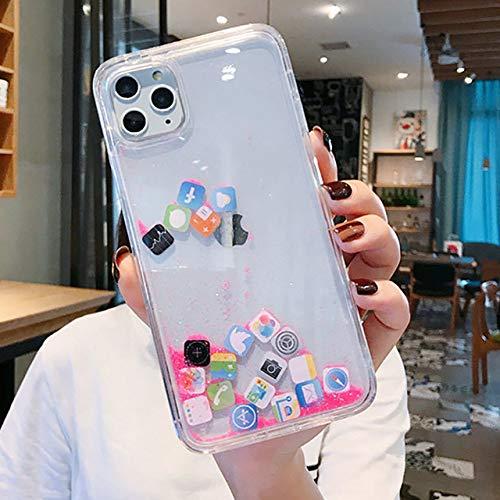 Funda Quicksand para iPhone 12 11 Pro MAX Carcasa rígida líquida para teléfono para iPhone 6 6S 7 8 Plus X XR XS Carcasa con ícono Lindo, Rosa, para iPhone XS MAX