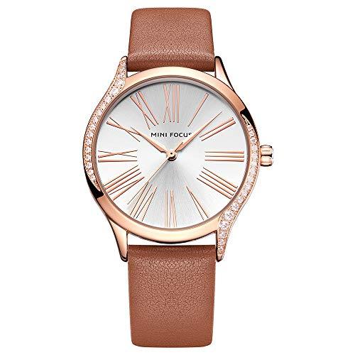 Reloj analógico de cuarzo japonés de piel marrón con diseño de piedra circonita para mujer MF025902 marrón