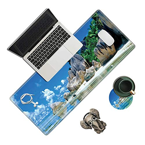 Extended Large Gaming Mouse Pad,Beaches France Seychelles Desk Pad Big Long Mouse Mat with Stitched Edges, Non-Slip Rubber Mousepad Desk Blotter Protector Office Accessories (with Coaster & Sticker)