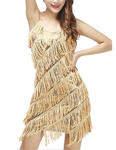 Gladiolus Damen Elegant Abendkleid Festlich Kleid Glitzer Vintage Ärmellos Tanz Kleider Aprikose Gold Einheitsgröße