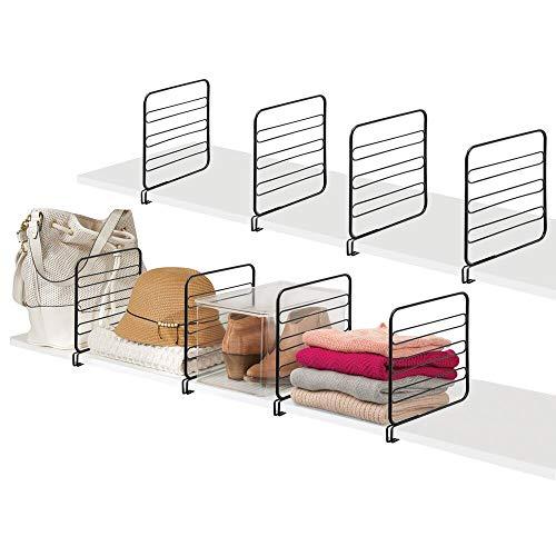 mDesign Juego de 8 separadores metálicos para organizar armarios y estanterías – Prácticos divisores de estantes y repisas – Sistema de Accesorios para armarios sin Tornillos – Negro