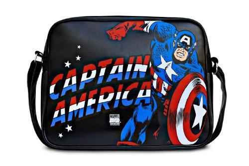 LOGOSHIRT – Marvel Comics – Captain America – Tas – Schoudertas – zwart – Gelicentieerd origineel ontwerp