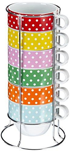 PT HOME PT1839 Cafe Latte XL Mini Dots mit Ständer Keramik
