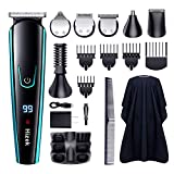 Beard Trimmer for Men,Hizek 14 in 1 Hair Trimmer Cordless Hair Clippers Waterproof Trimmer Grooming Kit with Hairdressing Cape, LCD Display, Stand Base, Body Trimmer for Beard Nose Hair