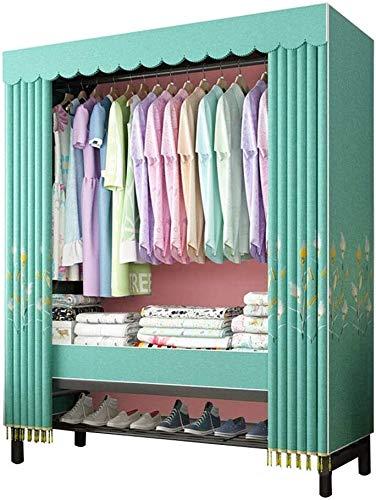 SUOMO Faltschrank Einfache Tuch Garderobe Tür Öffnen Kleiderschrank, Faltschrank Kleiderschrank Kleidung Lagerung, tragbare Kleiderschrank mit Hängerstange Kohlenstoffstahlrutsche