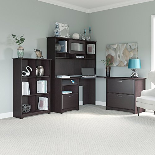 Cabot Corner Desk with Hutch, Lateral File Cabinet and 6 Cube Bookcase