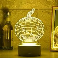 3Dナイトライト LEDパンプキンランプクリエイティブ3DLEDナイトライトノベルティイリュージョンナイトランプ3Dイリュージョンテーブルランプ-A