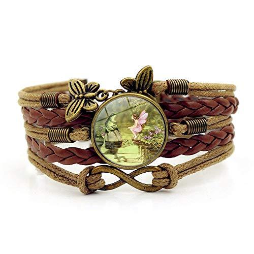 XIANNU Damen Armband,Vintage Multilayer Armband, Tier Frosch und schöne Blume Märchen, Zeit Edelstein brauner Geflochtener Schmetterling Armband für Frauen Mädchen Geburtstag Schmuck GIF