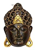 Maske Holzmaske Buddha Abbild Wanddekoration Relief aus Holz braun gold, Buddhakopf Höhe 25 cm handgefertigt Kunsthandwerk aus Bali Lombok Afrika