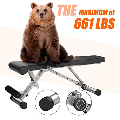 Weight Bench Adjustable Workout Bench for Home Gym Foldable Multi-Purpose Strength Training Benches, Flat/Incline/Decline Exercise Bench Press for Full Body Workout (Grey-orange)