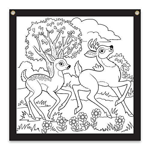 Rico Industries Deer Design Color-Me Felt, 24 x 24-inches, White (CMF122465CM)