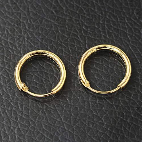 JohnJohnsen 0291 Tipo Coreano Aretes Pendientes Pendientes Pareja Material de Cobre Hombres Mujeres Pendientes Oro Pequeño 1135 Diámetro Interno 10 mm291 (Dorado)