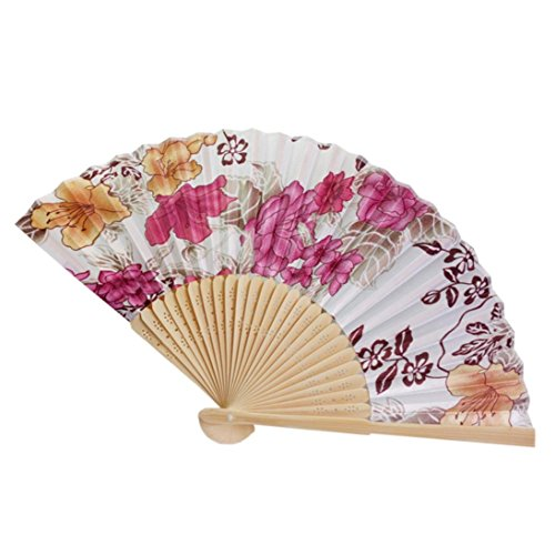 Cinhent Hand Folding Fans Chinese Tranditional Cultural Customs Vintage Bamboo Folding Hand Held Flower Fan, Dance Party Pocket Gifts,Performance Decoration (K)
