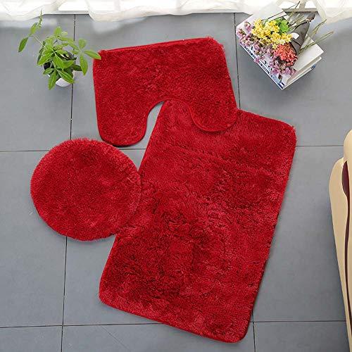 Homieco Tappeto per Bagno Tinta Unita 3 Pezzi Tappetino da Bagno Morbido e Assorbente Antiscivolo Set di tappeti e Coperchio per WC Lavabile, Rosso