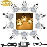 Bojim Lot de 10 Mini Spot LED Encastrable Extérieur, IP67 Étanche, Lumière Blanc Chaud 3000K, Lampe de sol 32MM 0.6W DC12V pour Chemin Terrasse Bois Piscine Escalier