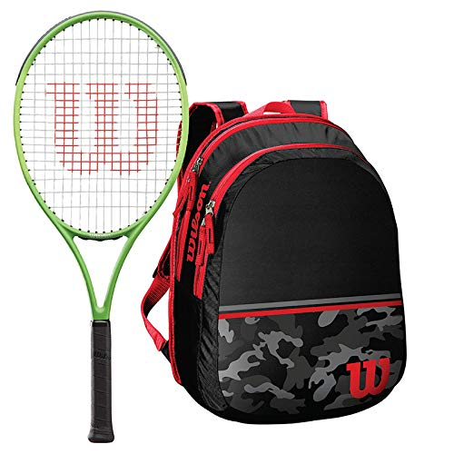 Wilson Blade Feel 21 Inch Pre-Strung Junior Tennis Racquet - Bundled with a Black and Camo Junior Tennis Backpack (Holds 2 Racquets) (Best Racquet for Young Beginner Players)