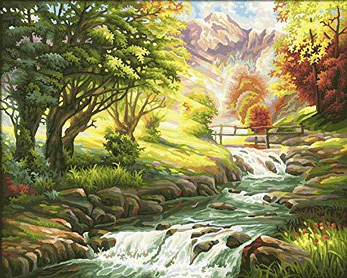 Pintura por Números para Adultos y Niños Paisaje de cascada de árbol verde DIY Pintura al Óleo por Números con Pinceles y Pinturas Decoración del Hogar 40×50 cm (Sin marco)